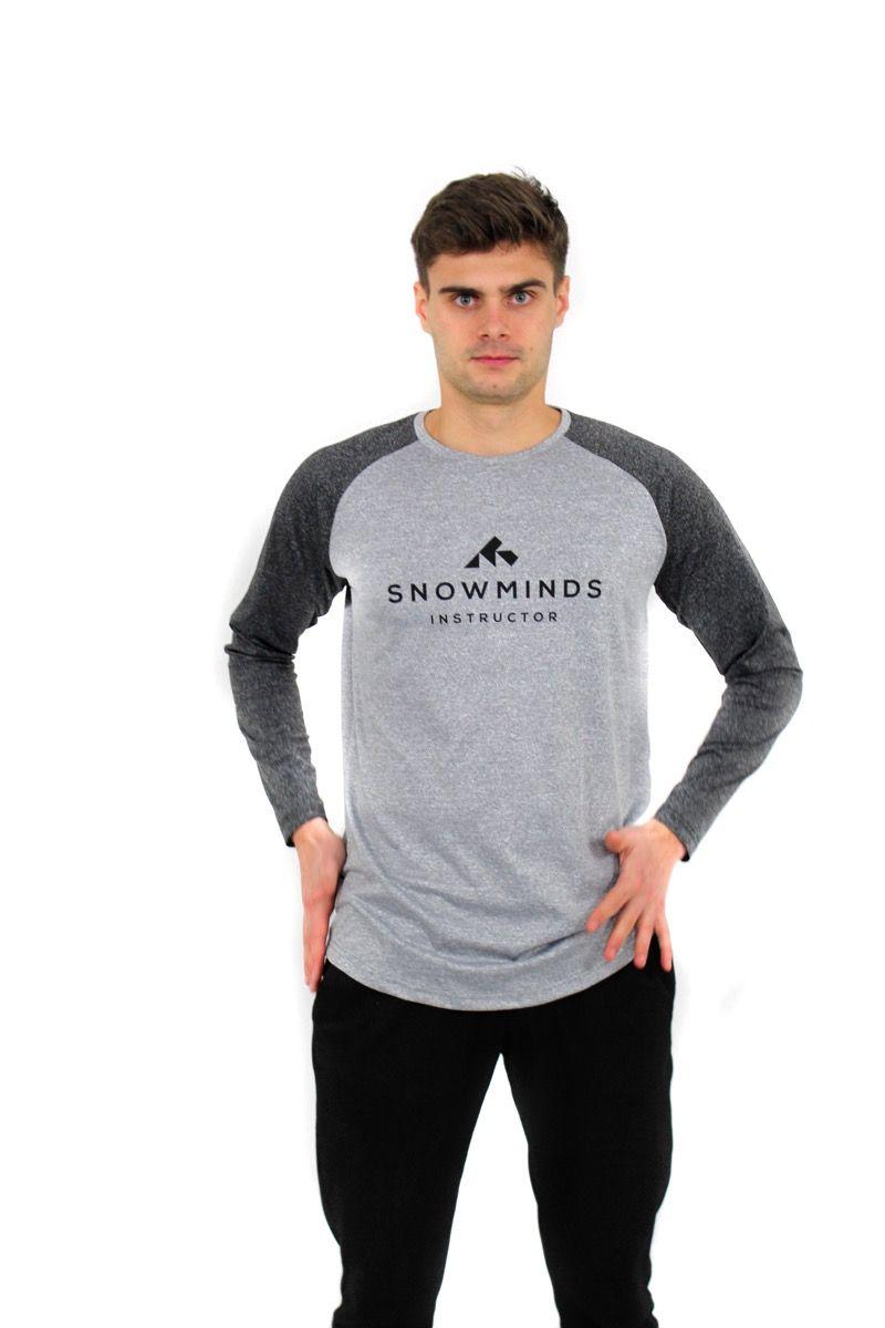 Ski t-shirt - Long sleeve running shirt - White/Grey - Unisex